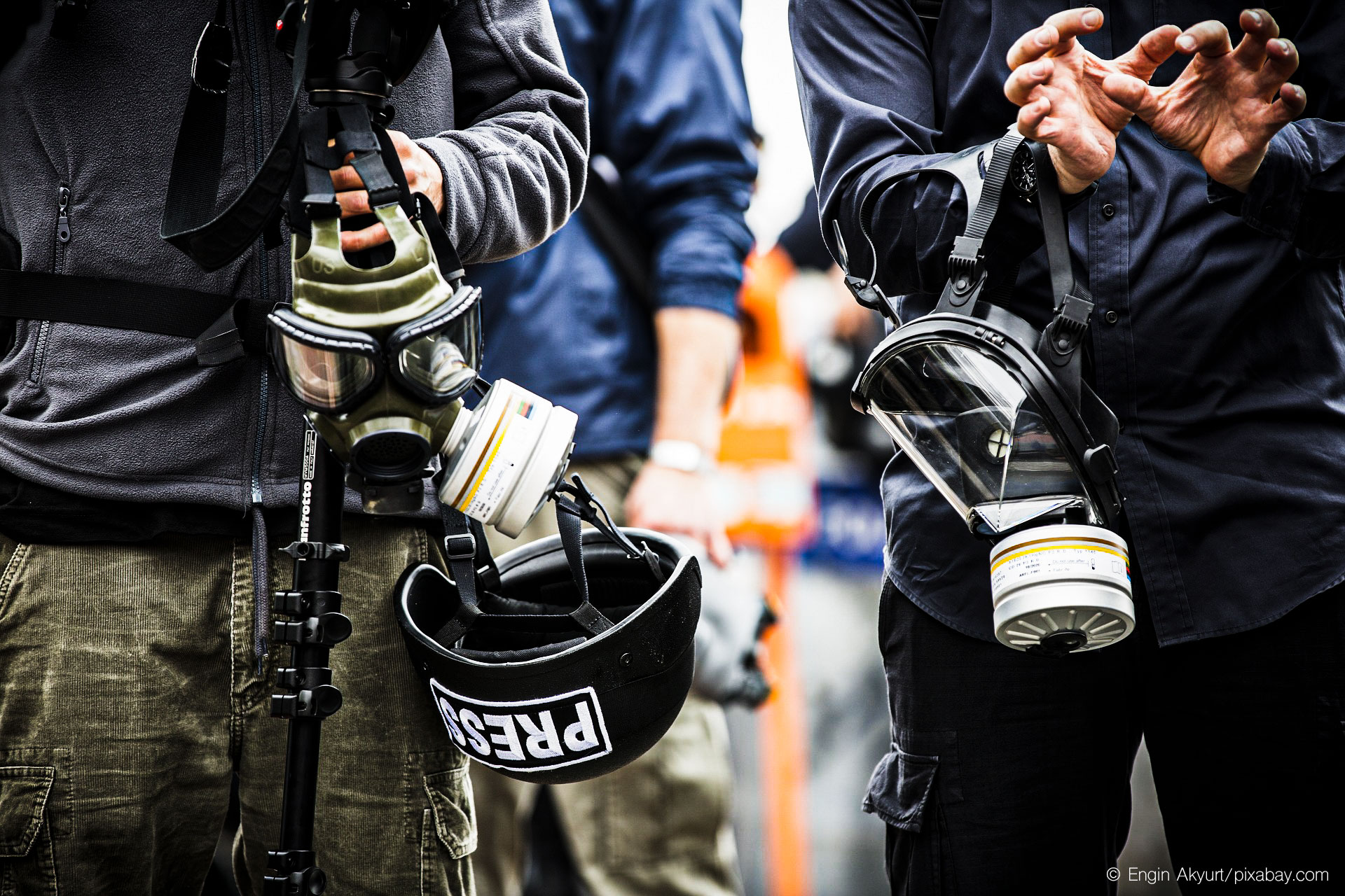 Press Journalist Gas Mask Attack
